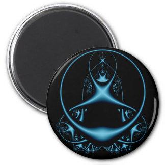 Blaues Fraktal-runder Magnet Runder Magnet 5,1 Cm