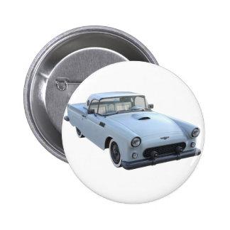 Blaues Fünfzigerjahre Sport-Pastellauto Runder Button 5,7 Cm