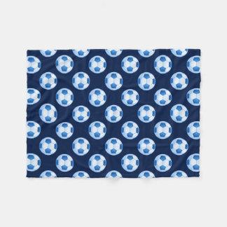 Blaues Fußballmuster des Fußball-| Fleecedecke