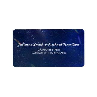 Blaues Galaxie-Hochzeits-Adressen-Etikett Adressaufkleber