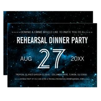 Blaues Galaxie-Hochzeits-Proben-Abendessen Karte
