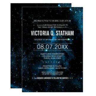 Blaues Galaxie-Schläger Mitzvah Party laden ein Karte
