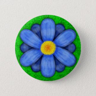 Blaues Gänseblümchen-Blume auf grünem schönem Runder Button 5,1 Cm