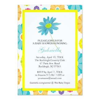 Blaues Gänseblümchen-Blumen-Baby-Duschen-Einladung Karte