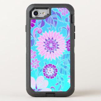 Blaues Gänseblümchen-Retro Druck OtterBox Defender iPhone 8/7 Hülle