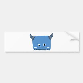 Blaues gehörntes Monster Autoaufkleber