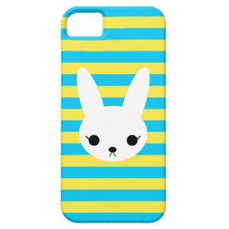 Blaues Gelb Stripes weißen Häschen iPhone Kasten iPhone 5 Hülle