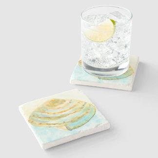 Blaues gelbes Seashell-Aquarell Steinuntersetzer