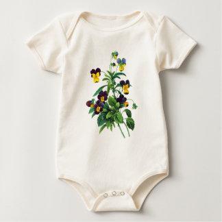 Blaues gelbes und lila Stiefmütterchen durch Baby Strampler