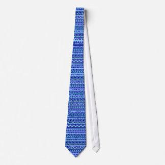 Blaues geometrisches abstraktes aztekisches bedruckte krawatten