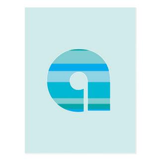 Blaues gestreiftes Monogramm - beschriften Sie A Postkarte