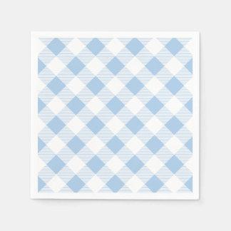 Blaues Gingham-kariertes Muster-Papierserviette Serviette