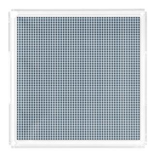 Blaues Gingham-Karo-Mitternachtsmuster Acryl Tablett