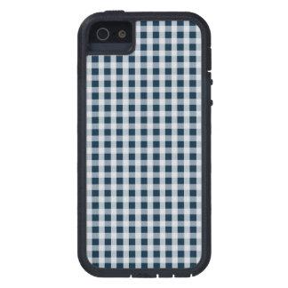 Blaues Gingham-Karo-Mitternachtsmuster iPhone 5 Cover