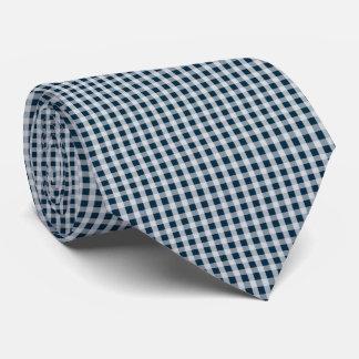 Blaues Gingham-Karo-Mitternachtsmuster Krawatte