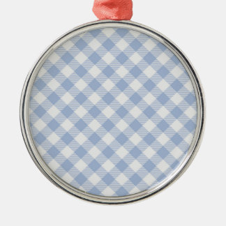 Blaues Gingham-Land Rundes Silberfarbenes Ornament