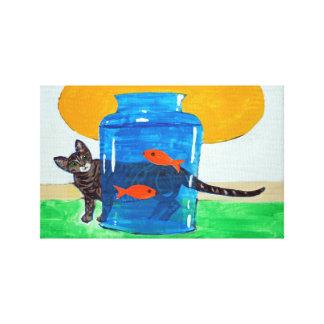 blaues Glas mit Fischen und Katze Leinwanddruck