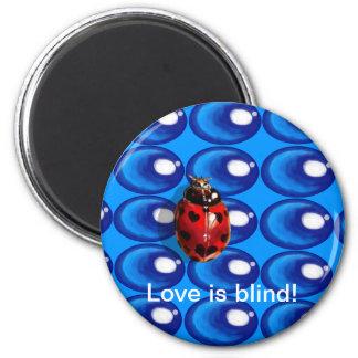 blaues Glas punktiert Runder Magnet 5,1 Cm