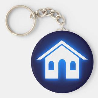 blaues Glühen-Zuhause Standard Runder Schlüsselanhänger