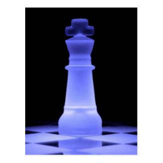 Blaues glühendes Stück König-Schach Postkarte