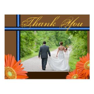 Blaues Gold Gerbera-Gänseblümchen-Browns danken Postkarte