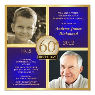 Blaues Golderwachsener Geburtstag laden Then-Now Quadratische 13,3 Cm Einladungskarte