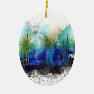 Blaues Gondel-Aquarell Venedigs Keramik Ornament
