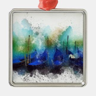 Blaues Gondel-Aquarell Venedigs Silbernes Ornament