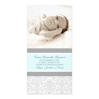 Blaues Grau danken Ihnen Baby-Duschen-Foto-Karten Fotokartenvorlage