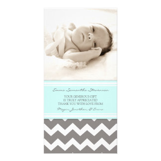 Blaues Grau danken Ihnen Baby-Duschen-Foto-Karten Individuelle Foto Karte