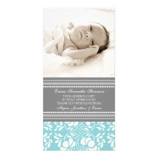 Blaues Grau danken Ihnen Baby-Duschen-Foto-Karten Individuelle Foto Karten