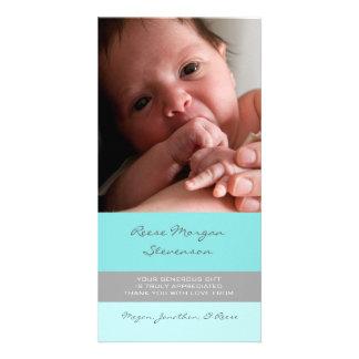 Blaues Grau danken Ihnen Baby-Duschen-Foto-Karten Photogrußkarten