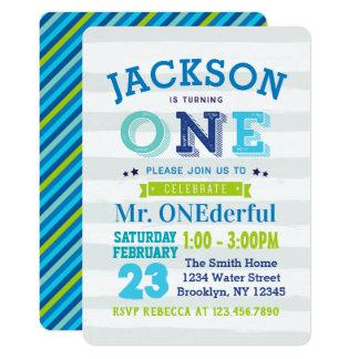 Blaues Grau Jungen-1. Geburtstags-Einladungs-Herrn Karte