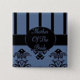 Blaues Grau-u. Schwarz-Streifen, Monogramm-Barock Quadratischer Button 5,1 Cm