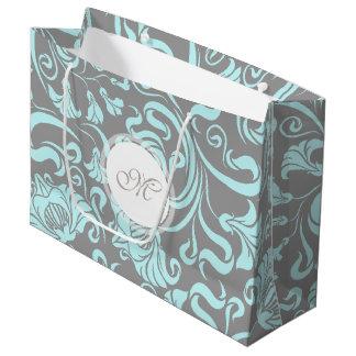 Blaues Grau-Vintages Blumenmuster-Monogramm L Große Geschenktüte