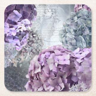 Blaues GrauVintages Blumenhydrangea-Blumenmuster Rechteckiger Pappuntersetzer