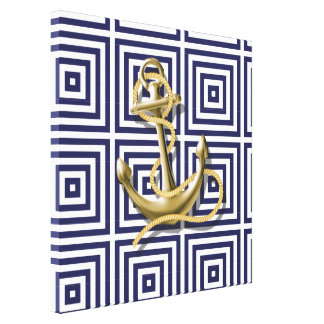 Blaues griechisches Mittelmeermuster-Seeanker Leinwanddruck