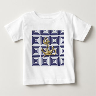 Blaues griechisches Muster des Strandes adretter Baby T-shirt
