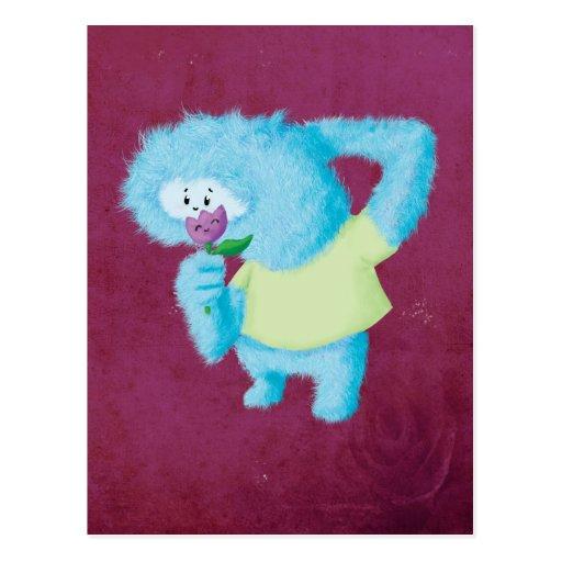 Blaues großes Pelzmonster Postkarte