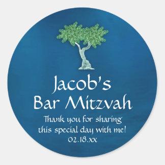 Blaues Grün-Baum des Leben-Bar Mitzvah Runder Aufkleber