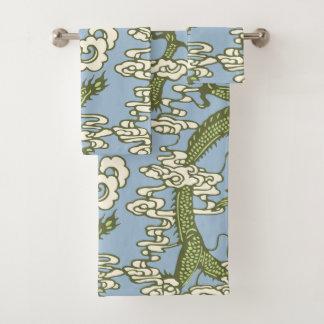 Blaues Grün-chinesisches Drache-Muster Badhandtuch Set