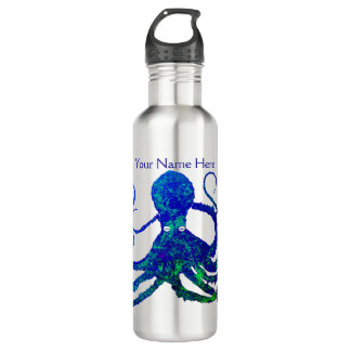 Blaues Grün der Kraken-8 auf Stahl - Edelstahlflasche