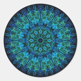 Blaues Grün-Edelstein-Kaleidoskop Runder Aufkleber