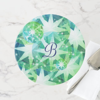 Blaues Grün-Edelstein-Kompass-diamante de Tortenplatte