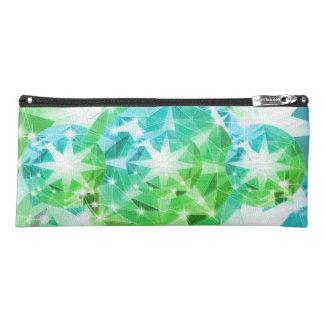 Blaues Grün-Edelstein-KompassRhinestone Bling Stiftetasche