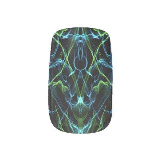Blaues Grün-Fraktal Minx Nagelkunst