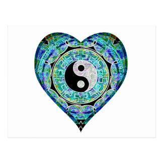 Blaues Grün-Herz Yin Yang Postkarte