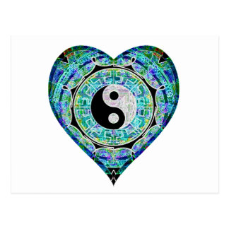 Blaues Grün-Herz Yin Yang Postkarten