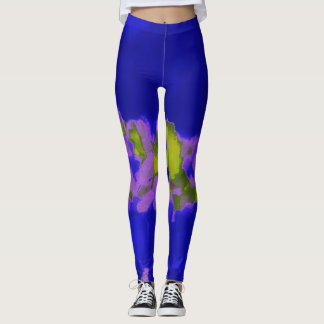 Blaues Grün-lila Farben-Spritzer Leggings