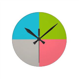 Blaues Grün-Rosa-Grau Runde Wanduhr